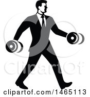 Business Man In A Suit Power Walking And Carrying Dumbbells In Retro Black And White Style