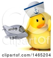 Clipart Of A 3d Chubby Yellow Bird Sailor On A White Background Royalty Free Vector Illustration