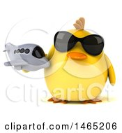 Clipart Of A 3d Chubby Yellow Bird On A White Background Royalty Free Vector Illustration