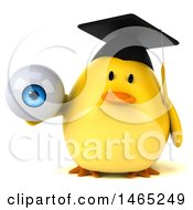 Clipart Of A 3d Chubby Yellow Bird Graduate On A White Background Royalty Free Vector Illustration