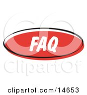 Red FAQ Internet Website Button Clipart Illustration
