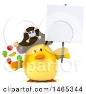 Clipart Of A 3d Chubby Yellow Bird Pirate On A White Background Royalty Free Vector Illustration