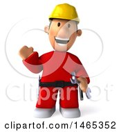 Clipart Of A 3d Worker Man On A White Background Royalty Free Illustration