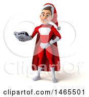 Clipart Of A 3d Young White Male Super Hero Santa On A White Background Royalty Free Illustration