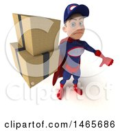 Clipart Of A 3d Young White Male Super Hero Mechanic In Red And Dark Blue On A White Background Royalty Free Illustration