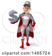 Clipart Of A 3d Young White Male Super Hero Mechanic In Gray And Red On A White Background Royalty Free Illustration
