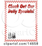 Salt And Pepper Shakers And Text Reading Check Out Our Daily Specials Borderd By Red Checkers