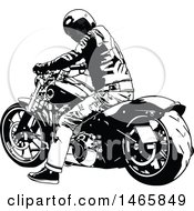Clipart Of A Motorocyclist On A Harley Resting And Looking Back Royalty Free Vector Illustration