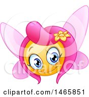 Clipart Of A Pretty Fairy Yellow Emoji Emoticon Smiley Face Royalty Free Vector Illustration