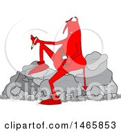 Cartoon Crossfaded Devil Smoking A Joint And Holding A Bottle Of Alcohol While Sitting On A Boulder