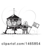 Clipart Of A Male Astronaut Holding A Flag By A Shuttle In Black And White Woodcut Style Royalty Free Vector Illustration by xunantunich