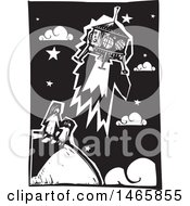 Steampunk Space Shuttle Over A Mother And Child On Earth In Black And White Woodcut Style