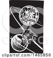 Steampunk Space Shuttle Orbiting Earth In Black And White Woodcut Style