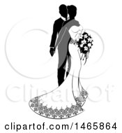 Clipart Of A Black And White Silhouetted Posing Wedding Bride And Groom With A Bouquet Royalty Free Vector Illustration by AtStockIllustration