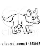 Black And White Cartoon Wolf