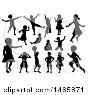 Black Silhouetted Boys And Girls Playing