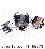 Clipart Of A Vicious Roaring Black Panther Mascot Shredding Through A Wall With A Football Royalty Free Vector Illustration by AtStockIllustration
