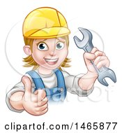 Clipart Of A Cartoon Happy White Female Mechanic Wearing A Hard Hat Holding Up A Wrench And Giving A Thumb Up Royalty Free Vector Illustration