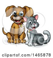 Cute Puppy Dog And Cat Sitting