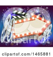 Clipart Of A Retro Arrow Marquee Theater Sign With Light Bulbs Film Reels And Clapper Board Over Magical Lights Royalty Free Vector Illustration