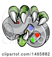 Clipart Of Green Monster Claws Gripping A Video Game With A Controller Royalty Free Vector Illustration by AtStockIllustration