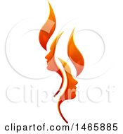 Clipart Of A Flame Design With Profiled Faces Royalty Free Vector Illustration