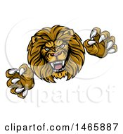 Clipart Of A Male Lion Attacking Royalty Free Vector Illustration