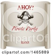 Clipart Of A Ahoy Pirate Party Scroll Design Royalty Free Vector Illustration