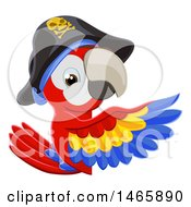 Clipart Of A Scarlet Macaw Pirate Parrot Pointing Around A Sign Royalty Free Vector Illustration by AtStockIllustration