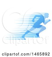 Clipart Of A Silhouetted Male Runner Sprinting With Blue Speed Lines Royalty Free Vector Illustration