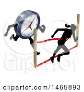Clipart Of A Silhouetted Woman Racing Against The Clock Running Through A Finish Line Royalty Free Vector Illustration