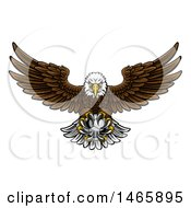 Clipart Of A Cartoon Swooping American Bald Eagle With A Soccer Ball In His Talons Royalty Free Vector Illustration