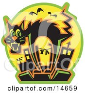 Scared Black Cat Arching Its Back As Bats Fly By While Standing On Top Of A City Building Clipart Illustration
