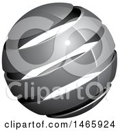 Clipart Of A 3d Silver Or Gray Globe Royalty Free Vector Illustration