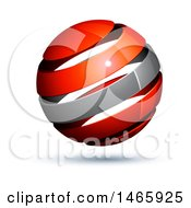 Clipart Of A 3d Silver And Red Globe Royalty Free Vector Illustration