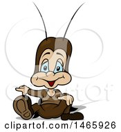 Clipart Of A Cricket Sitting And Pointing Royalty Free Vector Illustration by dero