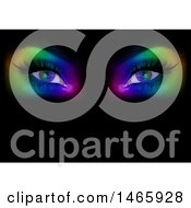 Clipart Of A Womans Eyes With Rainbow Colors In The Darkness Royalty Free Vector Illustration by dero