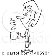 Clipart Of A Cartoon Lineart Happy Woman Holding A Cup Of Coffee On A Break Royalty Free Vector Illustration