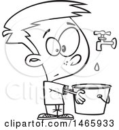 Cartoon Outline Boy Holding A Pail Under A Faucet Drop In The Bucket