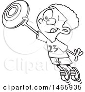 Poster, Art Print Of Cartoon Outline Boy Catching A Frisbee