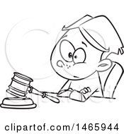 Clipart Of A Cartoon Lineart Boy Judge Sitting With A Gavel Royalty Free Vector Illustration