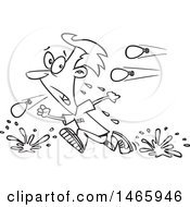 Clipart Of A Cartoon Lineart Man Retreating From A Water Balloon Fight Royalty Free Vector Illustration by toonaday
