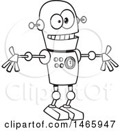 Clipart Of A Cartoon Lineart Welcoming Robot Royalty Free Vector Illustration by toonaday