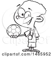 Poster, Art Print Of Cartoon Outline Boy Soccer Champion Holding A Ball