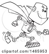 Clipart Of A Cartoon Lineart Super Hero Robot Royalty Free Vector Illustration by toonaday