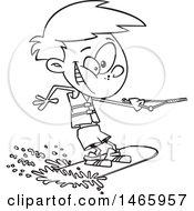 Cartoon Outline Boy Wakeboarding