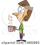 Cartoon Happy Woman Holding A Cup Of Coffee On A Break