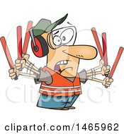 Clipart Of A Cartoon Stressed White Male Traffic Controller Waving Wands Royalty Free Vector Illustration