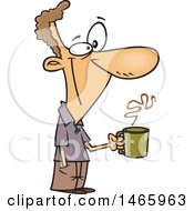 Clipart Of A Cartoon Happy White Man Holding A Coffee Cup On A Break Royalty Free Vector Illustration