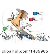 Clipart Of A Cartoon White Man Retreating From A Water Balloon Fight Royalty Free Vector Illustration